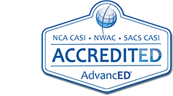 Accredited Logo: NCA CASI, NWAC, SACS CASI ACCREDITED, AdvancedED